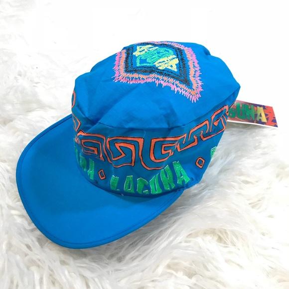 f7d373ca5ec Vintage Laguna Beach Cap Retro 90 s Neon Hat Blue